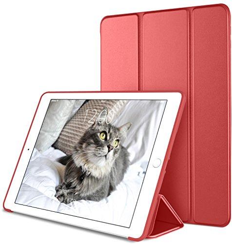 DTTO iPad Mini4 ケース 生涯保証 TPU ソフト 超薄型 超軽量 PUレザー スマートカバー 三つ折り スタンド スマートキーボード対応 キズ防止 指紋防止 [オート スリープ/スリープ解除] アップルレッド