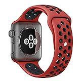 Apple Watch スポーツバンド, Gersymi® スポーツバンド 交換バンド 対応 アップルウォッチ Nike+ / New Apple iWatch Series 2 / Apple Watch Series 1 (42mm, レッド+ブラック)