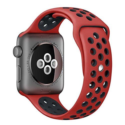 Apple Watch スポーツバンド, Gersymi® スポーツバンド 交換バンド 対応 アップルウォッチ Nike+ / New Apple iWatch Series 2 / Apple Watch Series 1 (38mm, レッド+ブラック)