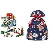 レゴ(LEGO) スーパーマリオ レゴ(R)マリオ と ぼうけんのはじまり 〜 スターターセット 71360 + インディゴ クリスマス ラッピング袋 グリーティングバッグLL ギフトベア ネイビー XG157