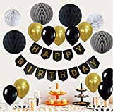 Oisee 風船 誕生日 飾りセット バルーン 装飾セット 特大ペーパーフラワー ハニカムボール HAPPY BIRTHDAYガーランド 誕生日デコレーション お祝いに(ブラック )