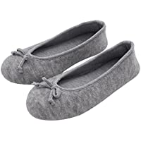 HomeTop Women's Elegant Cashmere Knitted Memory Foam Indoor Ballerina