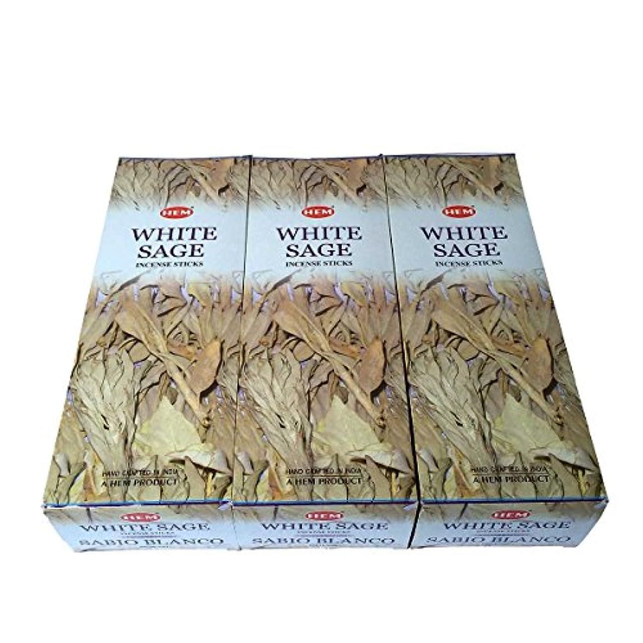 恩赦燃やすパーセントホワイトセージ香 スティック 3BOX(18箱)/HEM WHITE SAGE/ インド香 お香 [並行輸入品]