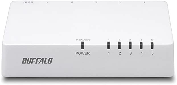 BUFFALO 10/100Mbps対応 プラスチック筺体 AC電源 5ポート ホワイト スイッチングハブ LSW4-TX-5EPL/WHD