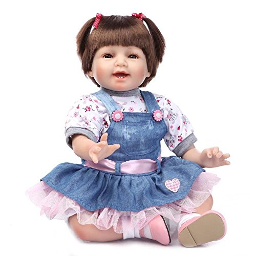 NPKDOLLリボーンベビードールソフトシリコンビニール22インチの55センチメートル磁気口リアルな少年少女のおもちゃは、プリンセスハイウィッグスマイル 人形 Reborn Baby Doll A1JP