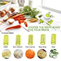 Vegetable Slicer Cutter with 5 Stainless Steel Blades Chopper,Premium Food Mandoline Slicer,Vegetable Cutter for Tomato, Onion, Cucumber, Zucchini Pasta, Cheese, Fruit Slicer (Green)