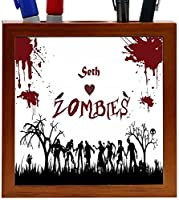 Rikki Knight Seth Loves Zombies on Red Grunge Personalized with Name Design 5-Inch Tile Wooden Tile Pen Holder (RK-PH23233) [並行輸入品]