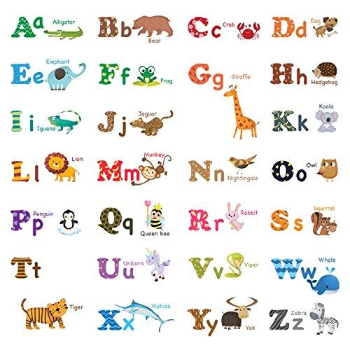 Decowall ウォールステッカー アルファベットと動物 ...