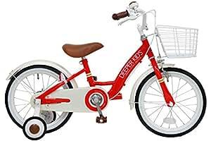 DEEPER(ディーパー) 16インチ子供用自転車 DE-001 バスケット付き レッド クラシックデザインが人気の幼児用自転車