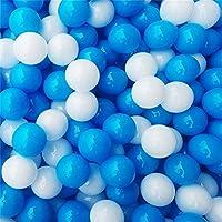 Ruick 100個ブルーとホワイトソフトプラスチック海洋ボールベビー子供ペットSwim Pit Toy水プールOcean Wave再生ボール 5.5 CM HK0141