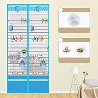 静かな夏 磁気カーテン、フルフレームベルクロ マグネット付き簡単網戸 玄関網戸 自動で閉-95×200センチメートル(37×79インチ)-A