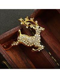 【ノーブランド品】ゴールドメッキ クリスタル ラインストーン 鹿動物 ブローチ クリスマスのギフト