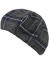(イリリリー) ililily グレン チェック パターン ウール 羊毛 ブレンド フレンチ ベレー帽 Artist フラット ウィンター 冬 帽子