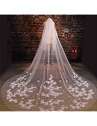 シュウクラブ- 韓国の美しいレースの花のダイヤモンド大尻タトゥー糸の花嫁の結婚式のベール