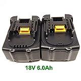 互換 マキタ18V バッテリー 6000mAh BL1860 BL1830 リチウムイオン ,三フー鵬 (2個)