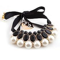 ROSENICE エレガントな女性のアクリル宝石大きな真珠ペンダント リボン偽襟ネックレス チョーカー (ブラック)