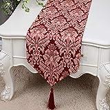 テーブルランナー ホームデコレーション 中国モダンシンプルスタイル 刺繍 工芸品 タッセル 長方形 エレガント (Color : Red, Size : 33*200cm)