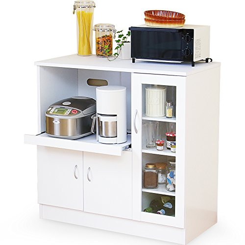 LOWYA (ロウヤ) キッチンカウンター レンジ台 キッチン収納 スライド収納 幅90 ホワイト おしゃれ 新生活