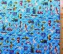 <プリント キルティング生地>乗り物ランド(ブルー) (パトカー 消防車 飛行機 ダンプカー ショベルカー かわいい おしゃれ 男の子 女の子 子供 入園 入学 ピロル)