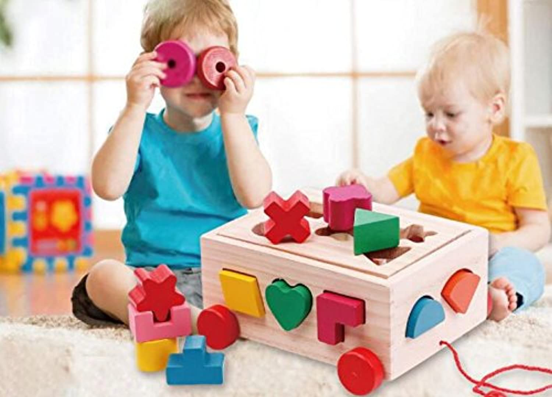 HuaQingPiJu-JP 子供のための車の教育形状の色の認識のおもちゃを並べ替える木の形のソーター幾何学的な並べ替え