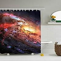 シャワーカーテン 衝撃的な銀河防水防カビ加工 カーテンリング付属