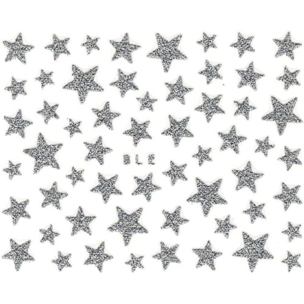 隔離アナニバー付与ネイルシール ラメ スター 星 選べる10種類 (H-01/シルバー)
