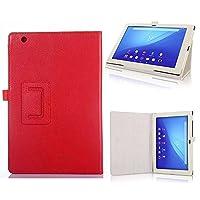 【PCATEC】 Sony Xperia Tablet Z4 タブレット専用ケース 二つ折 カバー 薄型 軽量型 スタンド機能 PUレザーケース (Sony Xperia Tablet Z4, レッド)