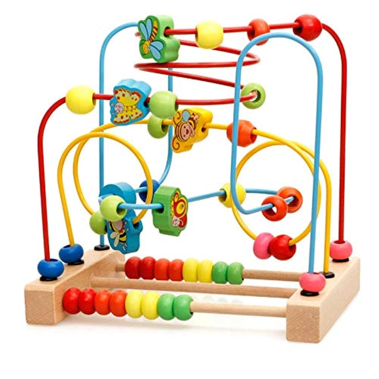 添加剤空虚ホットファイン 木製ビーズ迷路、木製の赤ちゃん幼児のおもちゃ、子供の教育ビーズ迷路の形の子供たちのために適した木製ミニビーズ迷路ローラーコースターパズル子供のパズル あどけないです (Color : Multi-colored)