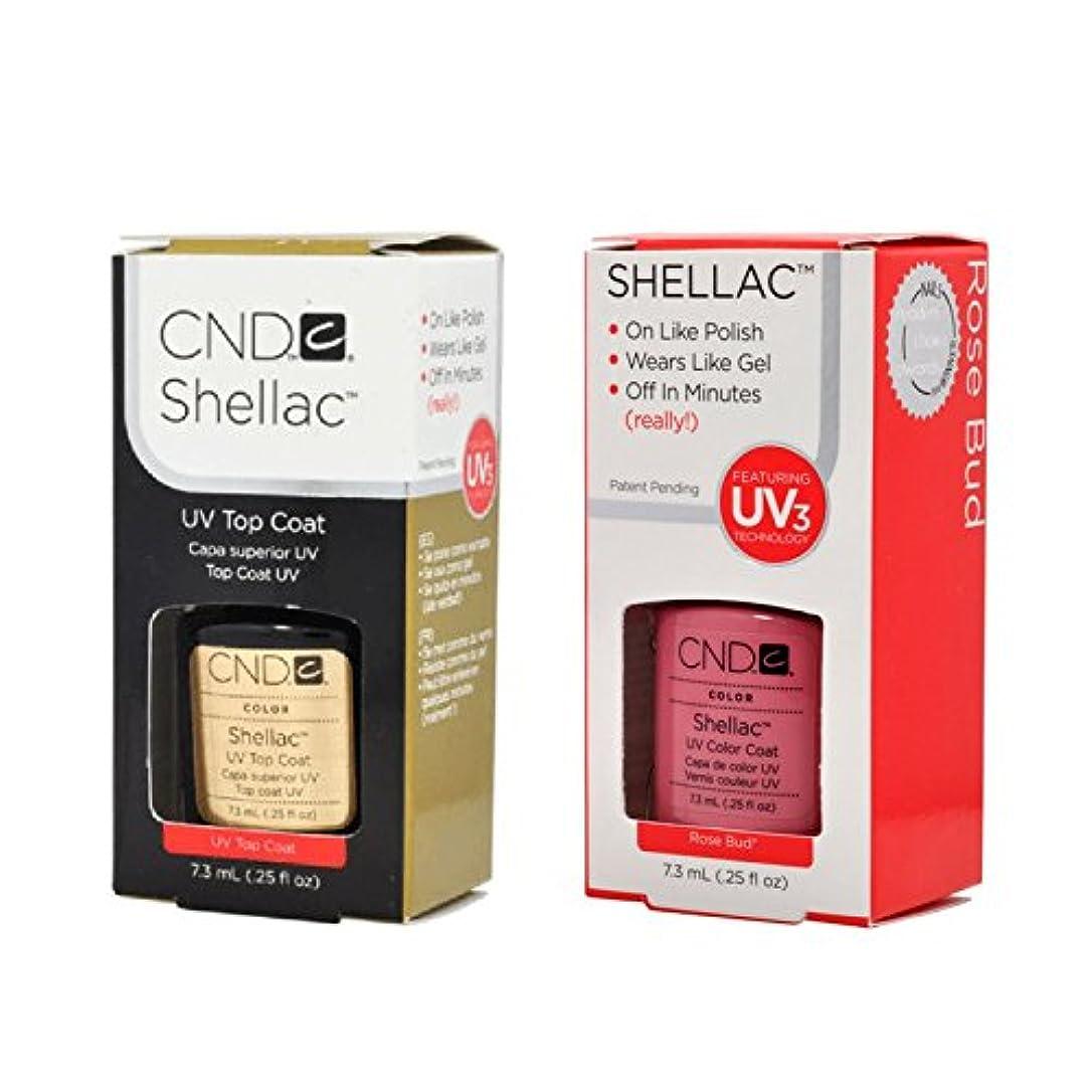 面抽象化組み合わせるCND Shellac UVトップコート 7.3m l  &  UV カラーコー< Rose Bud>7.3ml [海外直送品]