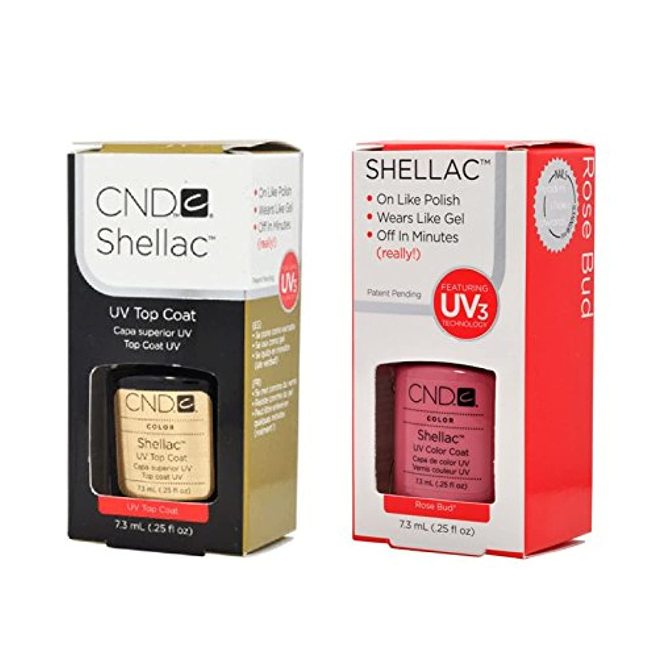 空気ジョリー内なるCND Shellac UVトップコート 7.3m l  &  UV カラーコー< Rose Bud>7.3ml [海外直送品]