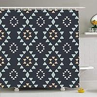 バスルーム用シャワーカーテン72x72ブルーアパッチメキシコの幾何学的な子部族のパターン抽象的なグレーの描かれた手現代の三角形アメリカの防水ポリエステル生地のバス装飾セットフック付き 180X180 CM
