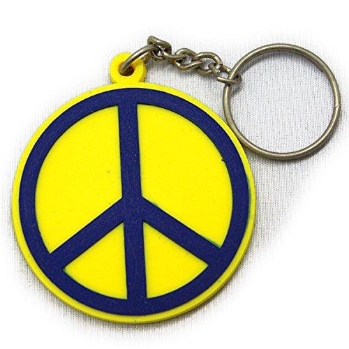 ラバーキーホルダー ピース PEACE マーク 平和 イエロ...