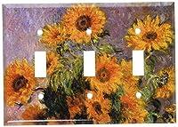 Monet–ひまわりスイッチプレート Triple Toggle 97-T-plate 1
