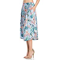 Fashion California Womens Elastic Waist High Low Midi Skirt Side Pockets (S-XXXXXL)