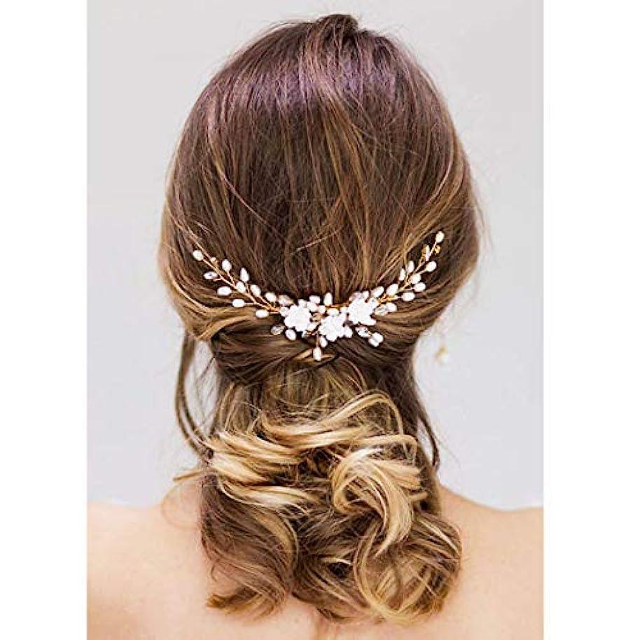 聞きます間欠パリティDrecode Bride Wedding Hair Comb Flower Headpiece Pearl Rhinestone Hair Accessories for Women and Girls [並行輸入品]