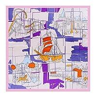 Koloeplf 海の日記地図90 * 90大きなスクエアスカーフレディースショールシルクプリントシルクスカーフ (Color : ピンク, サイズ : 90*90cm)