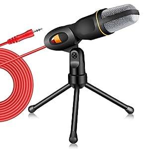 Tonor 高音質 コンデンサーマイク スタジオレコーディング 3.5ミニプラグ スカイプ/宅録/動画投稿/ゲーム実況 ブラック TN326