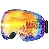 Patech スノーゴーグル スキーボード 99%UVカット 曇り防止 男女兼用 球面レンズ 防風/防雪/防塵 山登り/スキーなど用 (ブルー)