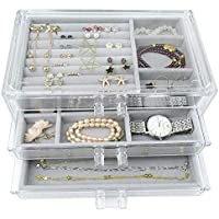 Acrylic Jewelry Box 3 Drawers, Velvet Makeup Organizer   Earring Rings Necklaces Bracelets Display Case Gift for Women, Girls