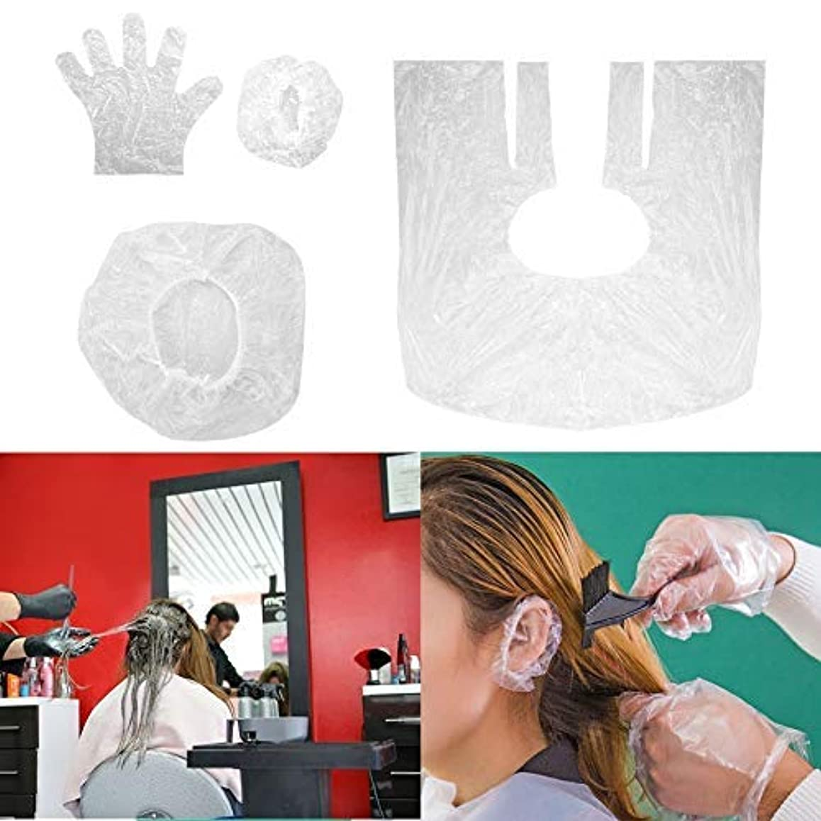 負荷毒液彼女の毛染め用 髪染め シャワーキャップ サロン 耳キャップ シャワーキャップ 手袋 使い捨て 10点セット