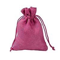 100のギフトバッグ - モノクロリネン糸袋、オープニング、結婚式/メイク/クリスマスギフトバッグ巾着、小さなギフトバッグ ギフトバッグ (Color : Rose Red, Size : 13x18cm)
