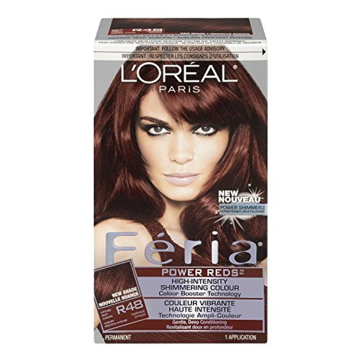 翻訳怠けた送信するL'Oreal Feria Power Reds Hair Color, R48 Intense Deep Auburn/Red Velvet by L'Oreal Paris Hair Color [並行輸入品]