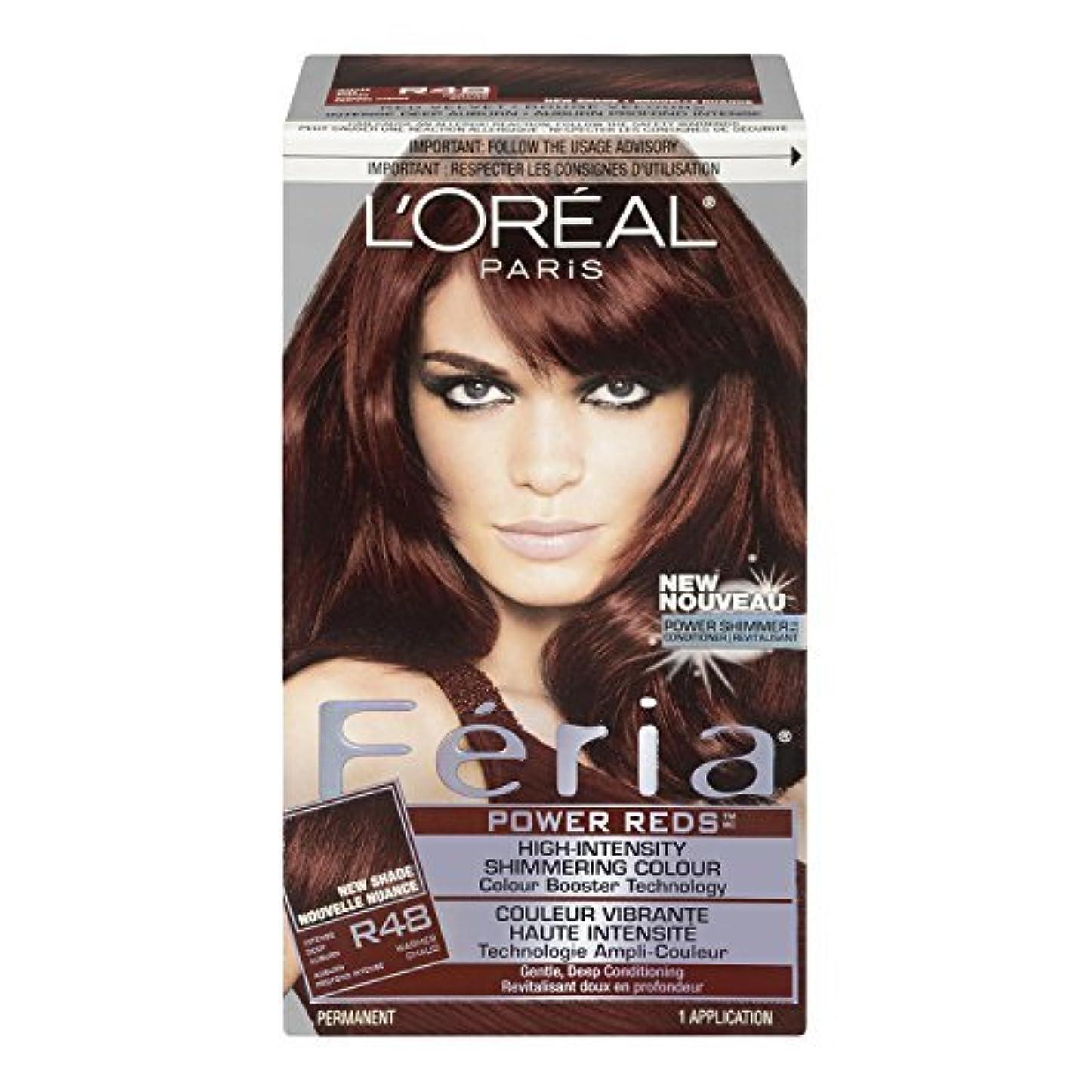 中国チャーターみぞれL'Oreal Feria Power Reds Hair Color, R48 Intense Deep Auburn/Red Velvet by L'Oreal Paris Hair Color [並行輸入品]