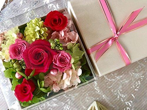 プリザーブドフラワー 枯れない 花 フラワー ギフト アレンジメント 母の日 父の日 卒業 入学 出産 お祝い プレゼント に最適 ギフト ボックス カラーバリエーション 豊富 リボン付きボックス ラッピング 包装 (ピンク×白box)