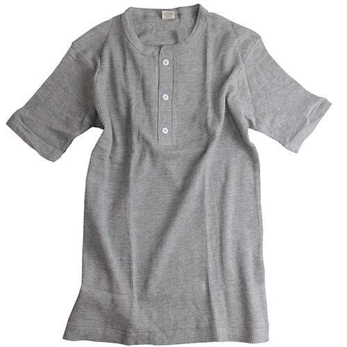 ヘルスニット(Healthknit) 半袖 ワッフル ヘンリーネック Tシャツ H/GRY LG-005 S