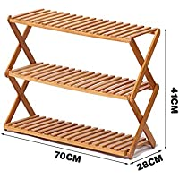 YNN 2/3層靴ラックシンプルな多層靴多機能防塵木の折り畳み式家庭用靴ラック竹ラック (サイズ さいず : 70*41cm)