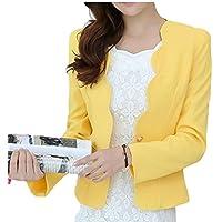 Maweisong Women's Slim One Button Long Sleeve Short Blazer