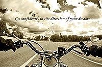 ハーレーオートバイポスター〜24×36バイクライドの夢平行輸入額縁共