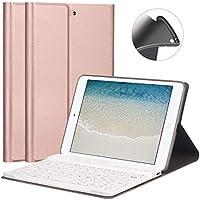 ipad miniケース キーボード iPad mini2/mini3 専用 FUNDA 脱着式 超薄 キーポート付け 保護ケース 指紋防止 スタンド 全面保護カバー(ローズゴールド)