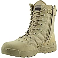 Meijunter Leather Zipper Desert Army Combat Patrol Boots Cadet Military Jungle 7inch Police Work Shoes